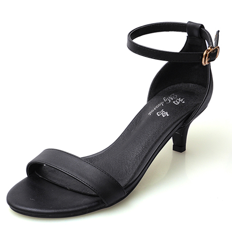 Genuine Leather Women Sandals 2017 Fashion Summer High Heels Buckle Ankle Strap Shoes Woman Casual Ladies Shoes High Quality xiaying smile summer new woman sandals platform women pumps buckle strap high square heel fashion casual flock lady women shoes
