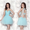 Imagens reais azul curto Tulle Prom vestidos de 100 $ queda Sheer Modest apliques vestido de baile