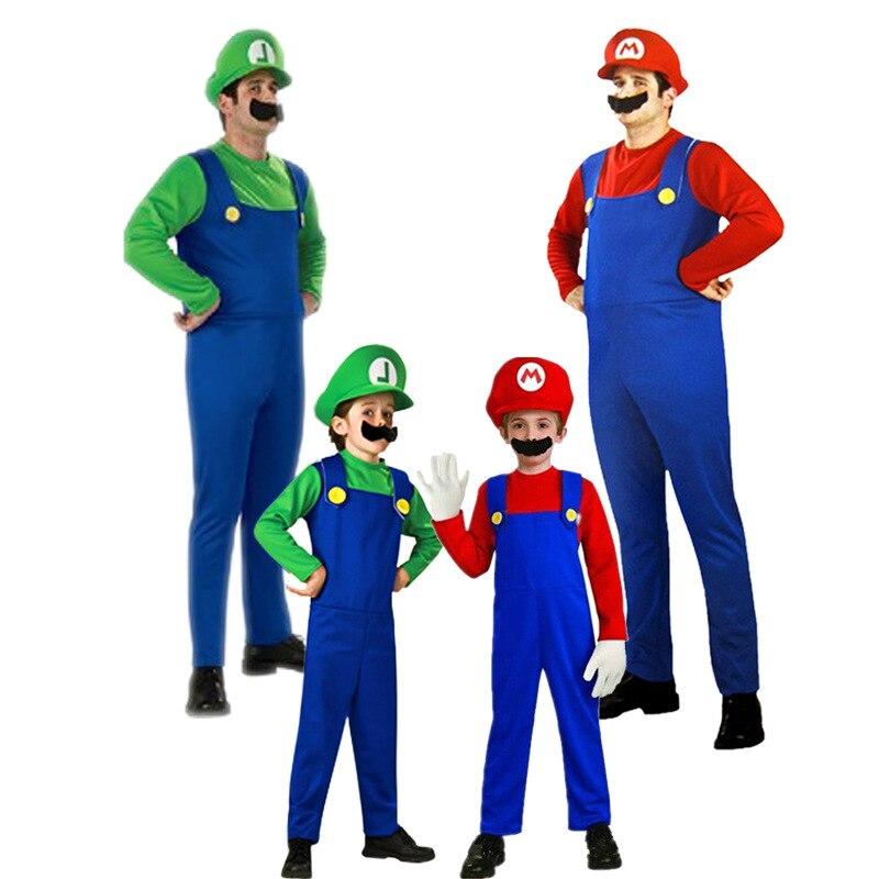 Super Mario Luigi laste ja täiskasvanute tegelaskuju kostüüm / punane ja roheline variant 5
