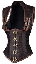 New Sexy Women Gothic Corset Punk Brown Black Faux Leather Steel Boned Bustiers Lace Up Plus Size Waist Trainer