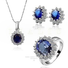 2017 TOP Jewelry The New Sets Crystal From Swarovski Fashion Jewelry Pure Stainless Steel Earrings Necklace Ring(China)