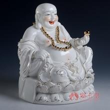 Dai Yutang birthday present to give them the laughing Buddha Maitreya Dehua ceramic/9 inch gold ancient Lotus D01-408