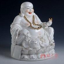 Dai Yutang birthday present to give them the laughing Buddha Maitreya Dehua ceramic/9 inch gold ancient Lotus Maitreya D01-408