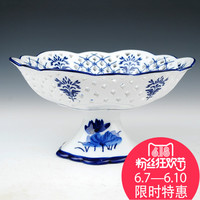 Ceramic Blue And White Chinese Hollowed Out Fruit Plate Stem Sugar Basket Are Home Furnishing Living