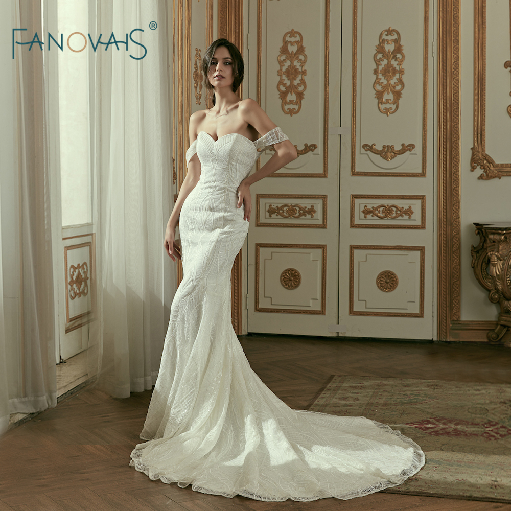 Sweetheart Neckline Lace Mermaid Wedding Dresses New 2019: New Arrival Ivory Mermaid Wedding Dresses 2019 Sweetheart