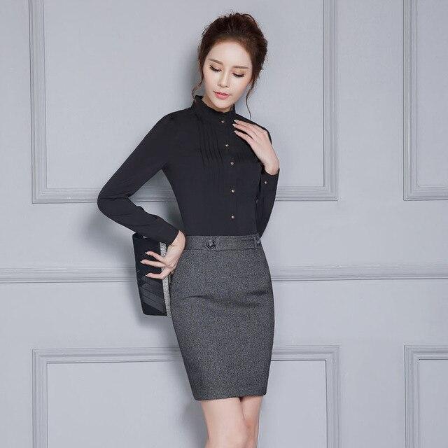 a2ad3062dd New Arrival Novidade Primavera Outono Preto Fino Moda Feminina Blusas    Camisas Formais Uniforme Estilo Senhoras