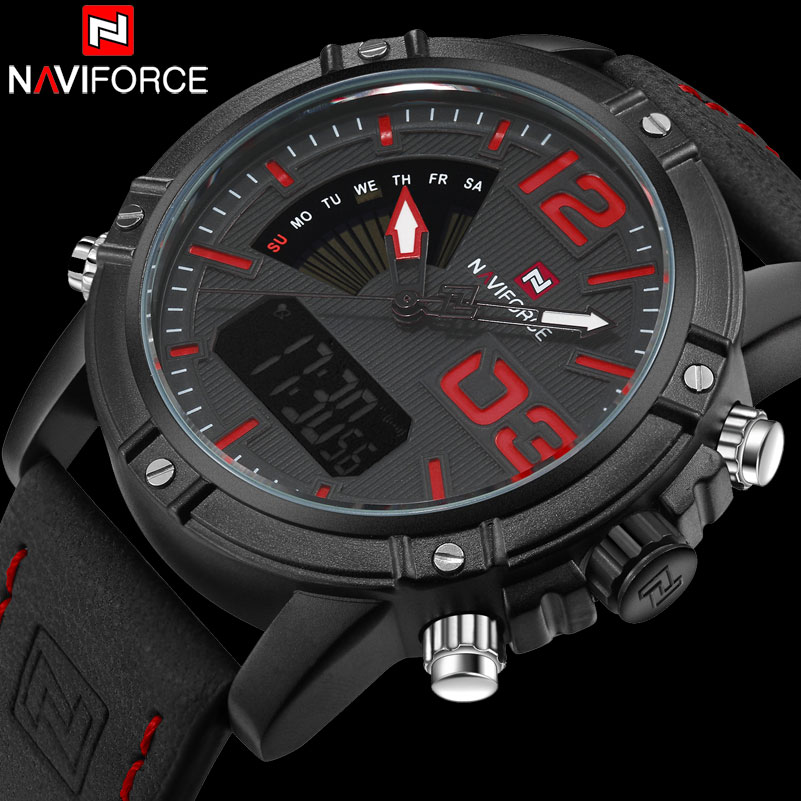 NAVIFORCE Brand Dual Display Watch Men Sport Quartz LED Watches Leather Band Analog Digital Wrist Watches 30M Waterproof Clock fabulous 2016 quicksand pattern leather band analog quartz vogue wrist watches 11 23