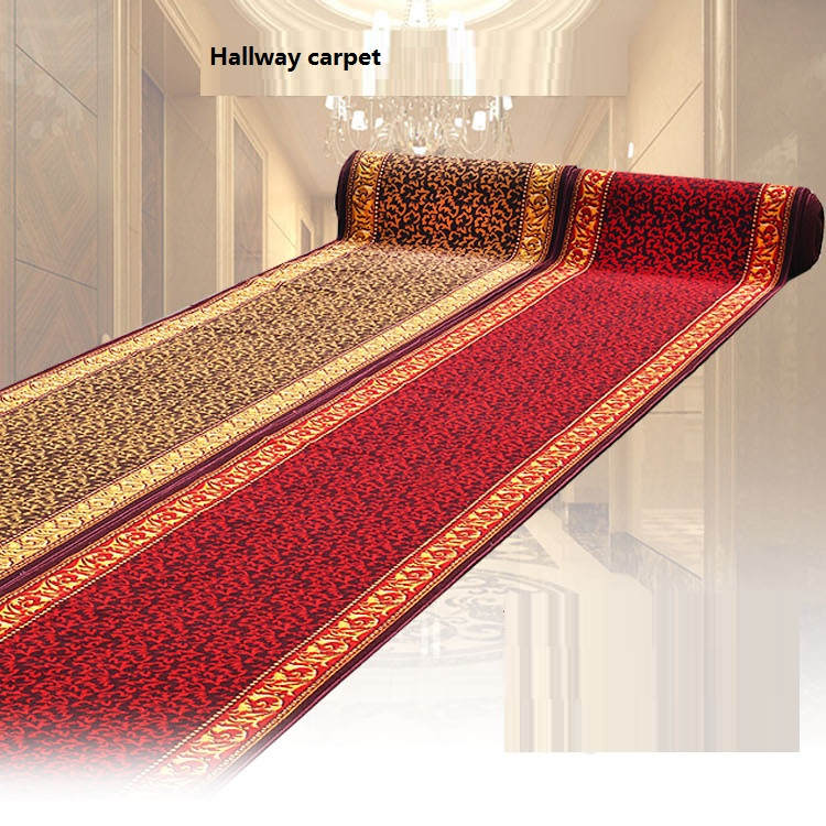 Customize Size Red Carpet Joyous Golden Skidproof Carpet For Parlor Hallway Stairs Hotel Decoration Water Absorption Ground Mat