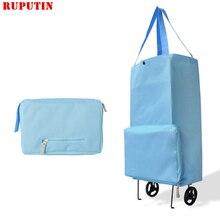 RUPUTIN 2018 New Folding Portable Shopping Bag Buy Food Trolley on Wheels Vegetables Organizer