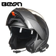 BEON Double Lens Flip up 1000m V3 Bluetooth Motocross Helmet Intercom Headset Interphone Radio Racing Motorcycle Helmets(China)