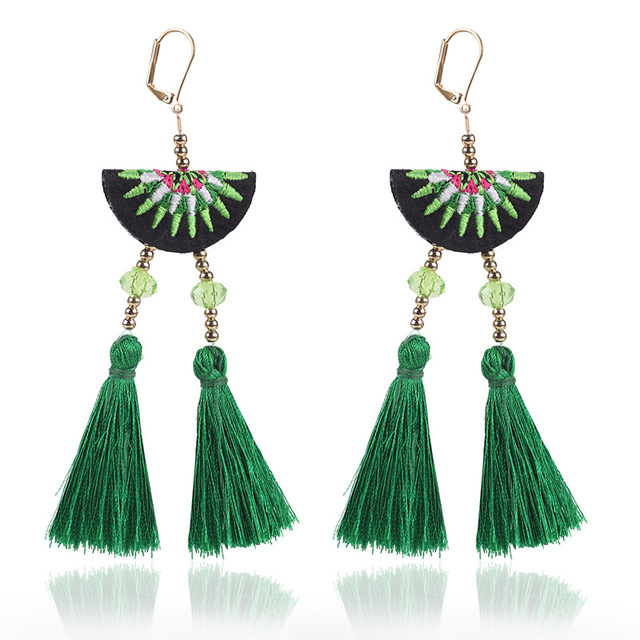 Qcooljly High Quality Bohemian Tel Handmade Statement Earrings Multicolored Fashion For Women Jewelry