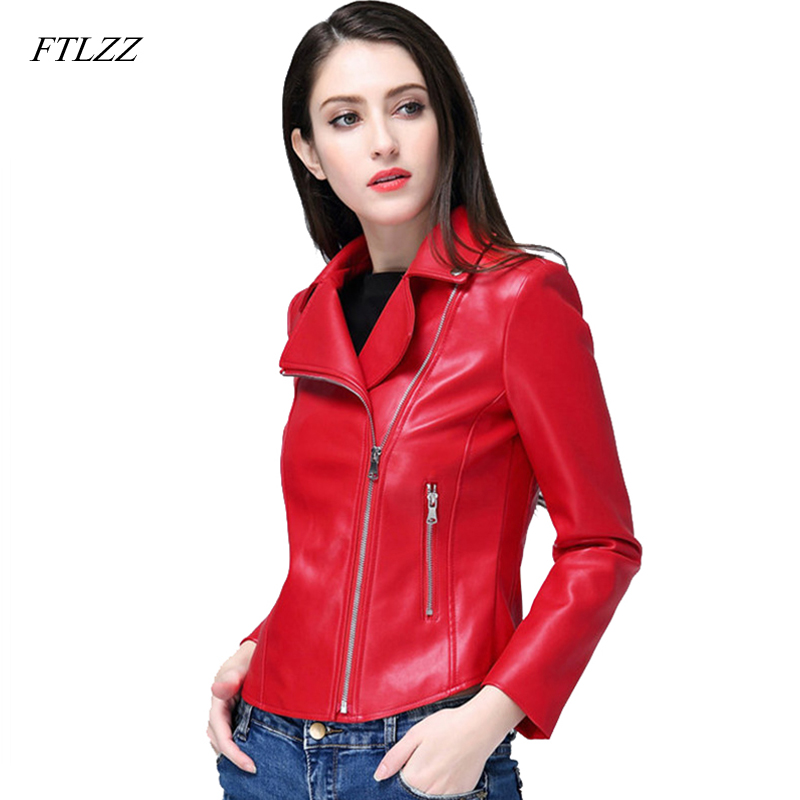 FTLZZ 2019 New Faux   Leather   Jacket Spring Autumn Women Faux   Leather   Coats Slim Soft Pu   Leather   Motorcycle Red Black Outwear