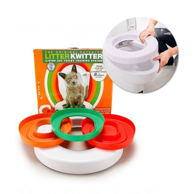 IdYllife 猫トレーニング便座ペットプラスチックごみボックストレイキットプロフェッショナルトレーナークリーン子猫健康猫人間トイレ