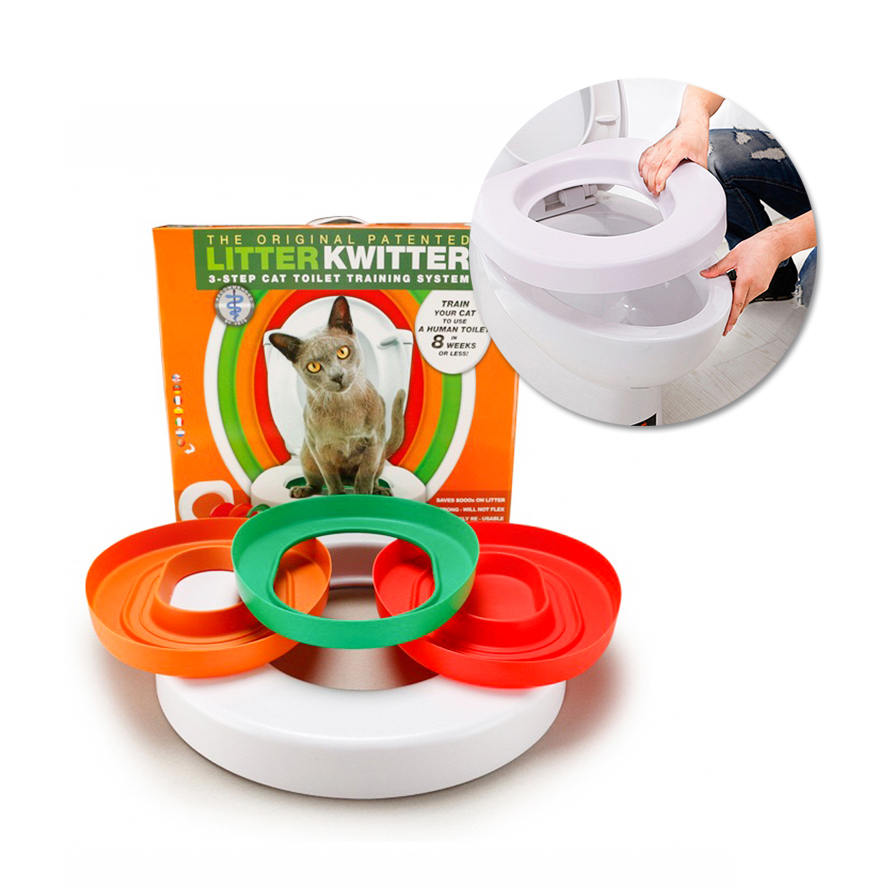 Idyllife Cat Training Toilet Seat Pet Plastic Litter Box Tray Kit Professional Trainer Clean Kitten Healthy Cats Human Toilet