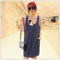 The fall Womens maternity fashion  loose striped T-shirt denim dress Mickey strap TOW PICE