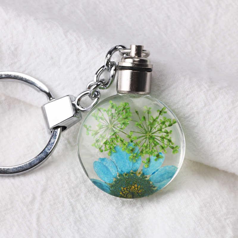 Luyun קטן טרי מיובש פרח keychain עגול זכוכית קריסטל מפתח שרשרת מפתח טבעת סיטונאי
