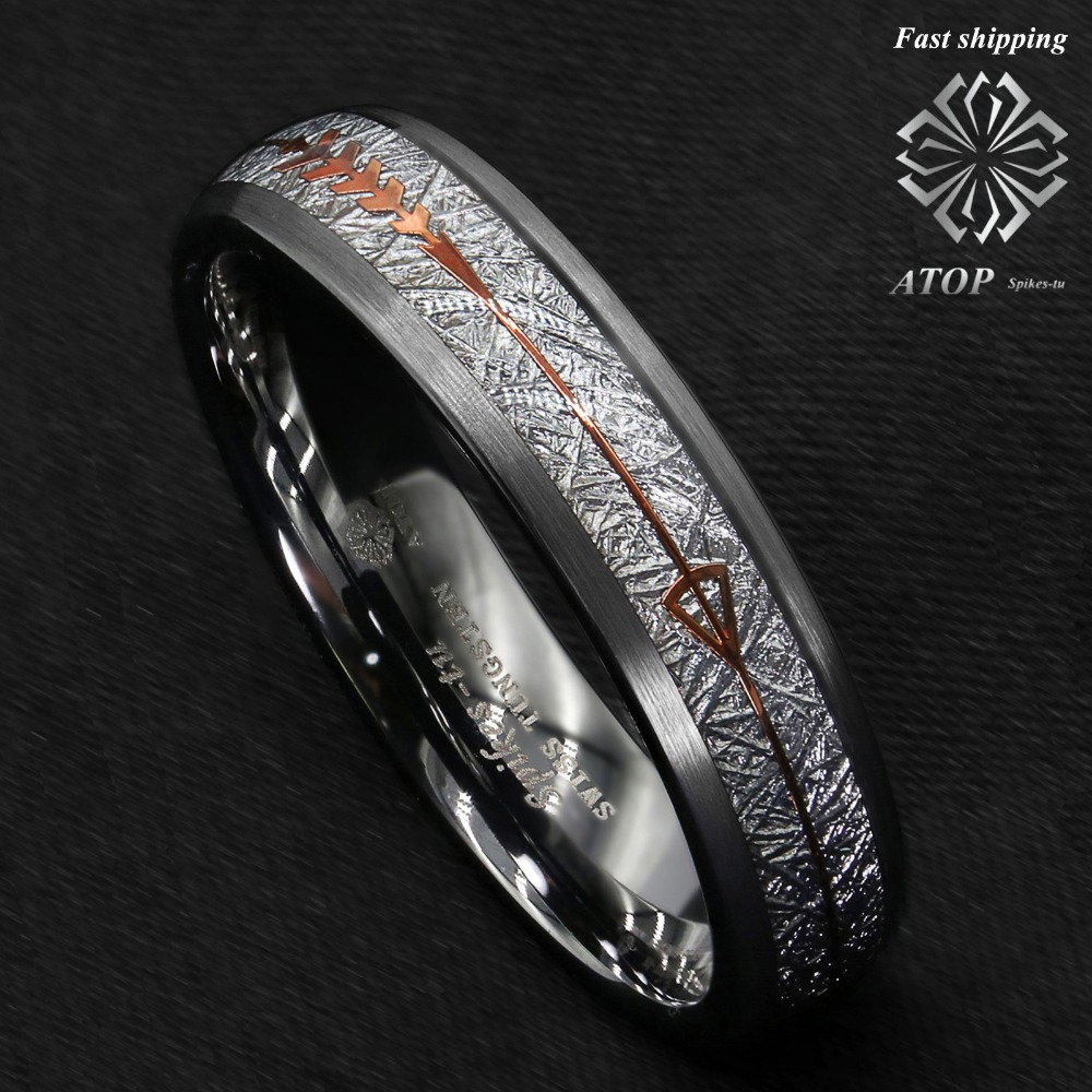 6mm Rock Gray Brushed Dome Tungsten Ring Silver Rose Gold Arrow ATOP Jewelry