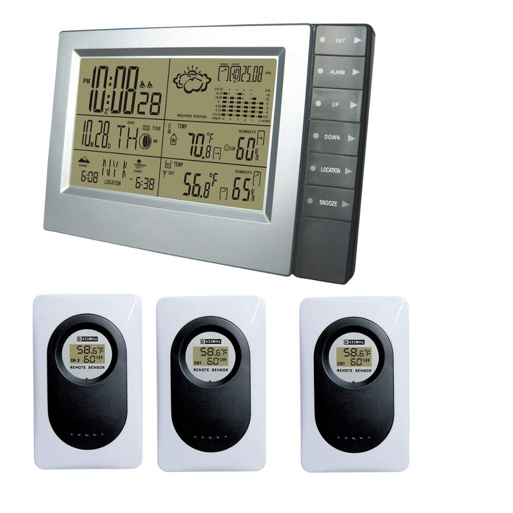 DCF Radio Controll Clock German Time Temperature Humidity Wireless Weather Station Most Up 3 Wireless Sensors