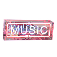 LED Neon Lights Sign Panel Lights Birthday Party Colorful Glass Neon Acrylic Box for Home Room Bar Decoration Atmosphere Light