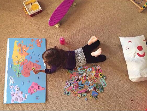 148 pièces en bois magnétique amusant bonjour carte du monde Puzzle jouet éducatif pour enfants 3d Puzzles Montessori matériel en bois jouet