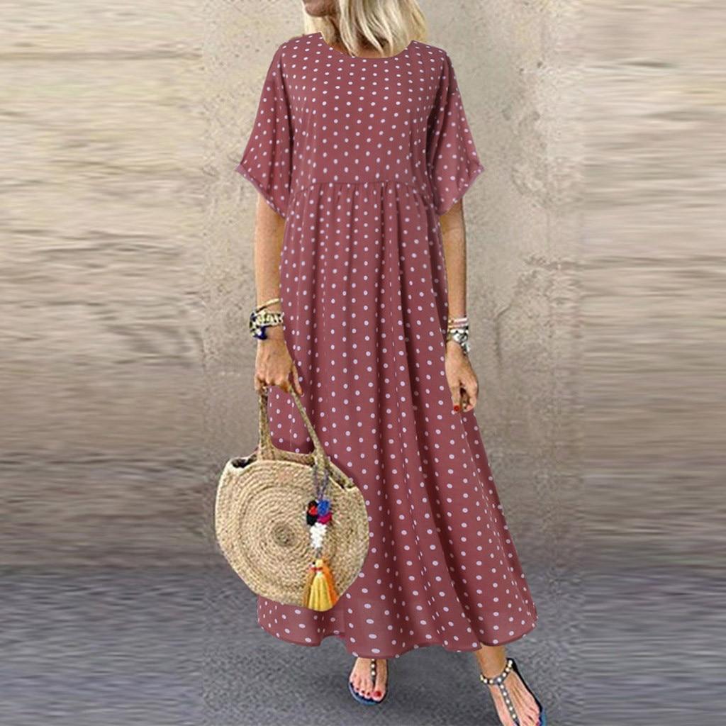 Summer Style New Women Dress Plus Size Fashion Women O-Neck Short Sleeve Dot Peinted Casual Dress vestidos mujer