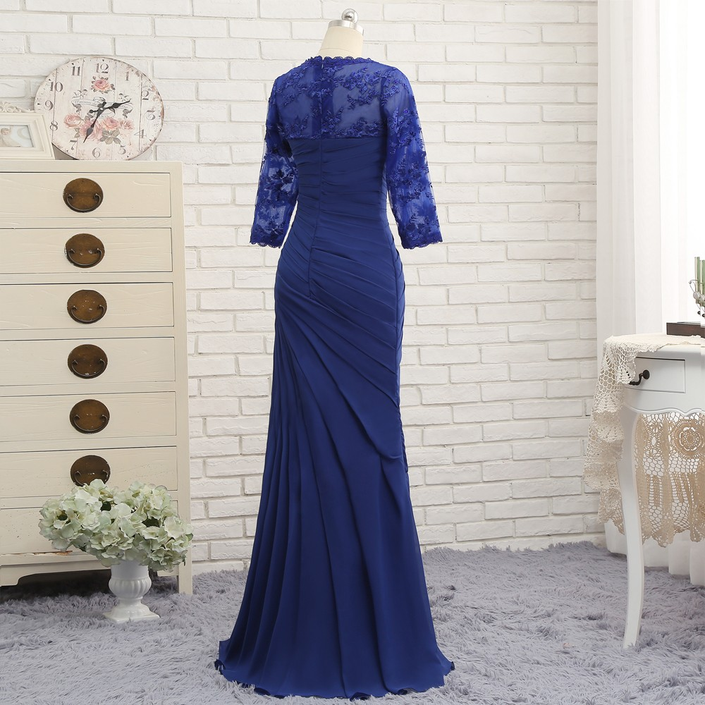 Plus Size Royal Blue 2017 Mother Of The Bride Dresses Mermaid 3/4 Sleeves Lace Long Evening Dresses Mother Dresses For Wedding 4