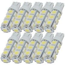 Safego 10pcs T10 W5W 194 168 2825 LED Wedge Bulb Replacement 5050 13 SMD Auto Car Interior Light Lamp Warm White 5000K 6000K
