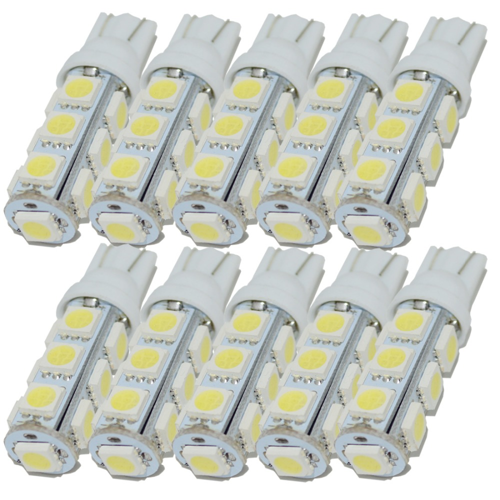 Safego 10pcs t10 5050 13SMD Wedge bulb W5W T10 LED Auto Car light Lamp LED w5w led white 194 Interior Instrument side tail bulbs safego 10pcs led t10 w5w led bulbs white 7020 10 smd 194 168 2825 wedge replacement signal trunk dashboard reverse parking lamp