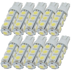 Safego 10 шт. T10 W5W 194 168 2825 светодиодный сменный клиновидный светильник 5050 13 SMD, автомобильная лампа для салона автомобиля, теплый белый свет 5000K ...