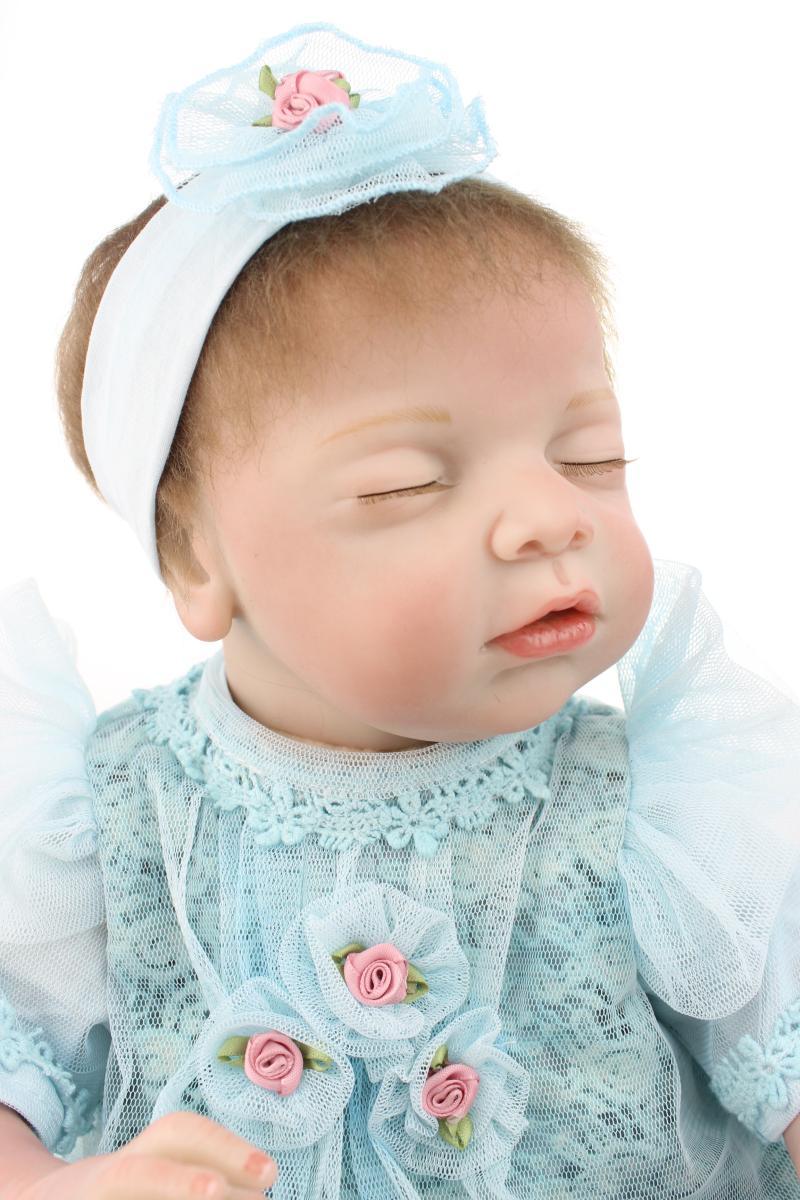 Mode 22 pouces réaliste Silicone Reborn bébé poupées dormir bébés réel vinyle ventre pour les filles jouets