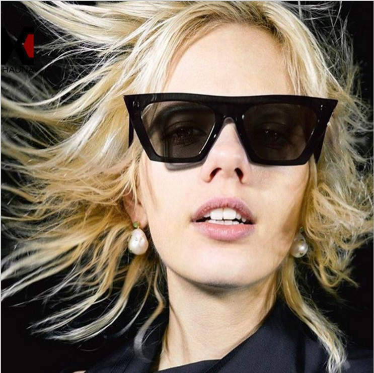 ASUOP2018 New ladies retro cat eye glasses high-end brand travel fashion men's sunglasses sports square UV400 transparent sunglasses (12)