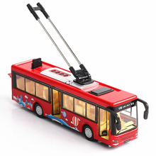 20.5CM 1:36 Scale Metal Alloy Toy Car Tram Bus Trolleybus Pull Back Diecasts Vehicles Model Toys for Children Kids Collection недорого