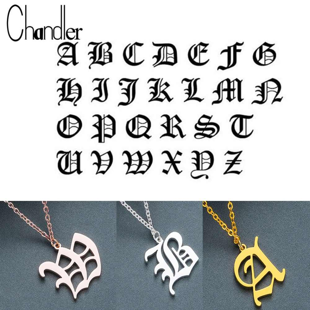 Chandler DIY Tiny Rose Gold Color Initial Necklace Gold Color Silver Letter Necklaces Initials Alphabet Name Choker Old English
