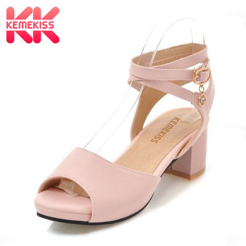 KemeKiss Size 31-47 Women Sandals With High Heel 4 Colors Ankle Strap Open Toe Women Shoes Concise For Daily Footwear kemekiss size 31 45 women sweet high heel shoes women ruffle ankle strap thick heels pumps party daily work shoes women footwear