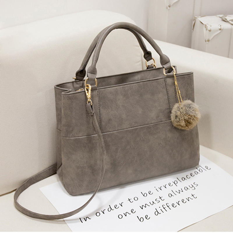 2018 Nubuck Leather Women Top Handle Bags Gray Black Large Capacity Designer Handbag High Quality Shoulder In From Luggage On