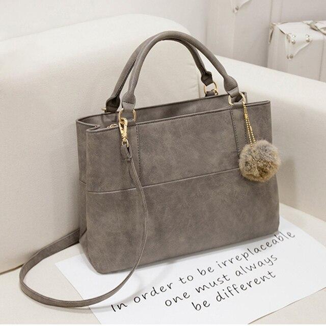 45cf2ce6765b 2018 Nubuck Leather Women Top-Handle Bags Gray  Black Large Capacity Designer  Handbag High