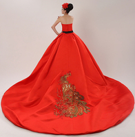 2017 new stock plus size women pregnant bridal gown wedding dress ball gown large long tail red gold sexy romantic fashion