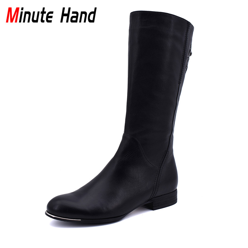 Minute Hand Winter High Quality Cow Leather Wool Riding Boots Women Low Heels Side Zip Fashion Equestrian Boots Mid Calf Boots