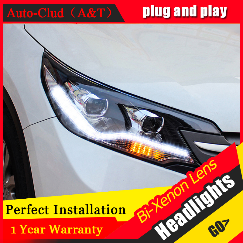 Car Styling For Honda CRV headlights 2012-15 For Honda CRV head lamp Angel eye led DRL front light Bi-Xenon Lens xenon HID KIT car styling for honda crv headlights u angel eyes drl 2012 for honda crv led light bar drl bi xenon lens h7 xenon