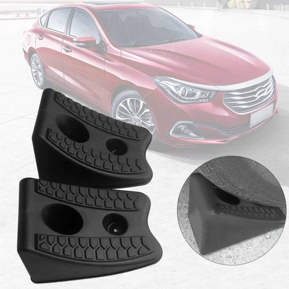 2pcs/set New Automobiles Anti-slip Block Rubber Car Tyre Slip Stopper Control Wheel Alignment Block Tire Support Pad Hot ...