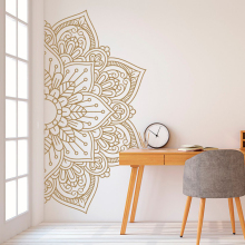 Mandala In Half Wall Sticker, Decal, Decor For Home, Studio, Waterproof Vinyl Sticker Meditation, Yoga Art MT35