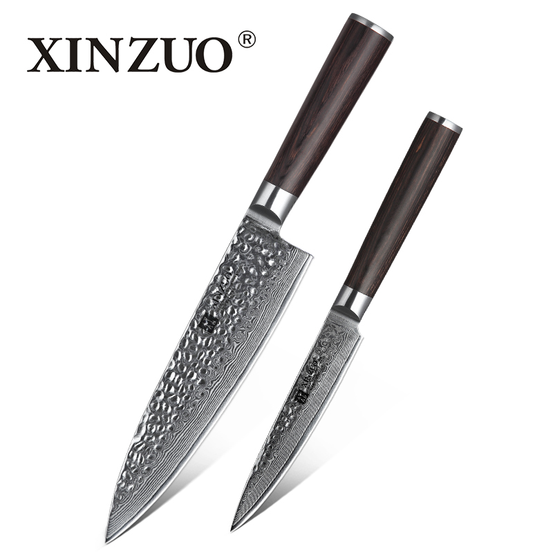 XINZUO 2 PCS Kitchen Knife Sets Japanese Damascus Steel Kitchen Knife Pro Chef Paring Knives for