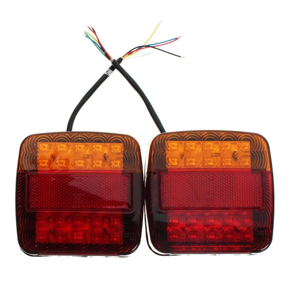 2Pcs DC 12V LEDS Car Truck Rear Tail Light Warning Lights Rear Lamps Waterproof Tailights Rear Parts for Auto Trailer Truck Boat 2pcs truck light 4 leds lamp