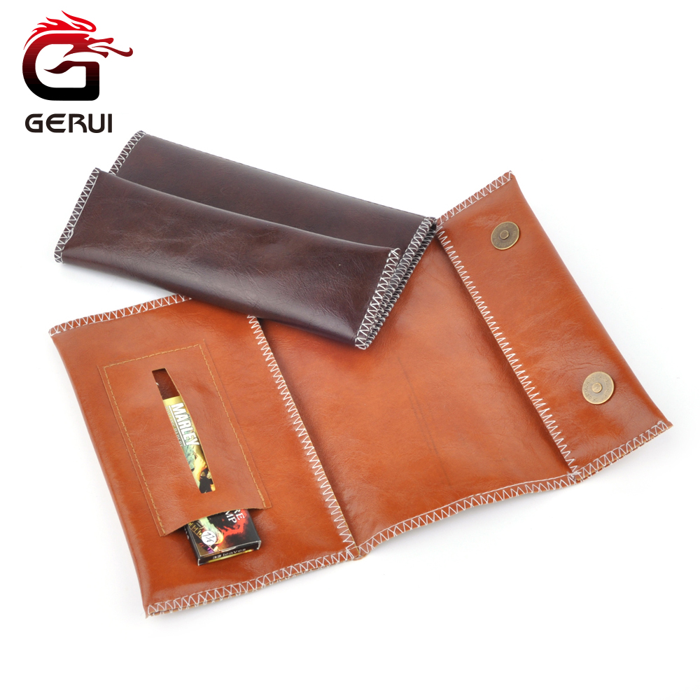 GERUI Popular PU Leather Tobacco Pouch Weed Storage For Smoking Pipe Portable Zipper Buckle Tobacco Bag Cigarette Bags 3 Colors
