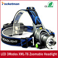 LLEVÓ la Linterna DEL CREE T6 led faro zoom 18650 faros lámpara principal XML-T6 2000lm zoomable lampe frontale LED flashlight zk93