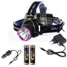 6000 Lúmenes DEL CREE XM-L XML T6 LED Del Faro de la Linterna Head Lamp Light + 2*18650 batería + cargador + cargador de Coche cargador