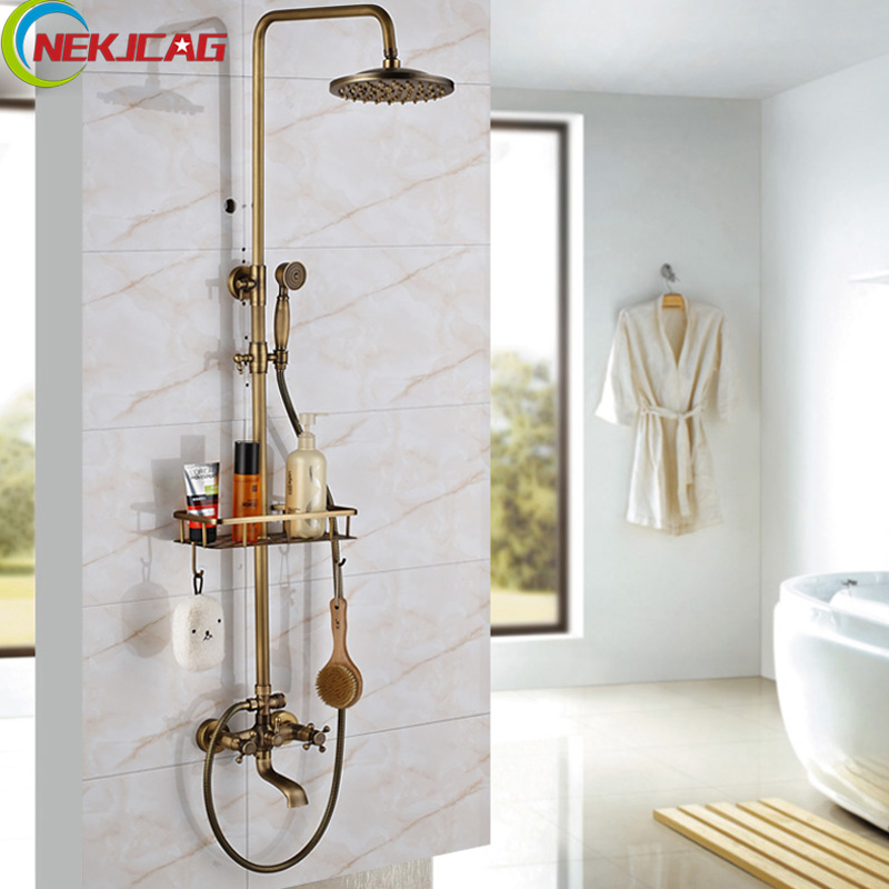 Retro Style Dual Handle Bathroom Shower Mixer Faucet Set Wall Mount 8 Rain Shower Head Commodity Shelf Shower Faucet Kit chrome bathroom thermostatic mixer shower faucet set dual handles wall mount bath shower kit with 8 rainfall showerhead