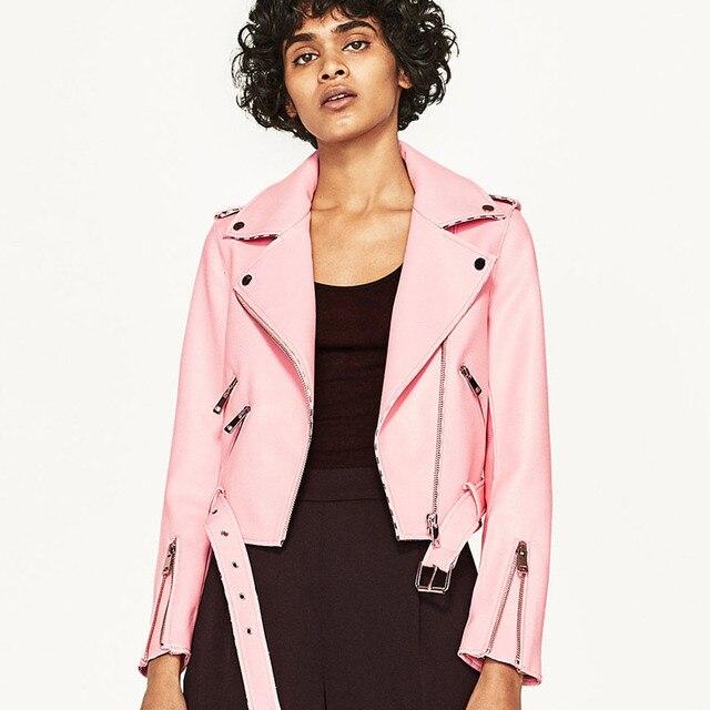 TREND Setter Autumn Pink PU Leather Jacket Women Snakeskin ...
