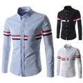 2015 new men's casual long-sleeved shirt decorated Ribbon 917-8720