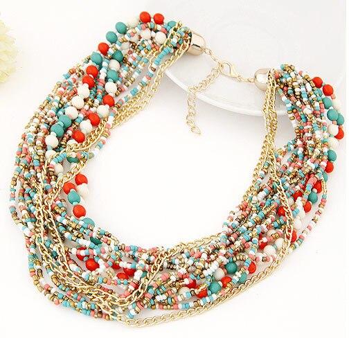 Seblasy Vintage bohème grande déclaration perles chaîne gland Colliers pour les femmes Maxi Simple Style Tribal bijoux à la main Colliers
